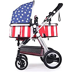 Cynebaby Newborn Baby Stroller for Infant and Toddler City Select Folding Convertible Baby Carriage Luxury High View Anti-shock Infant Pram Stroller with Cup Holder and Rubber Wheels (Oxford Soldier)