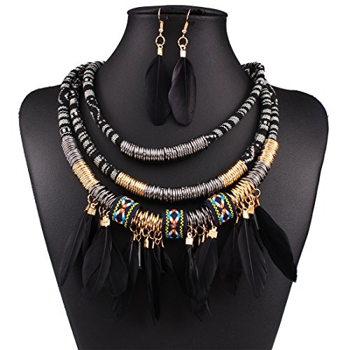 African Style Necklace Multi-Layer Alloy Feather Fringed Necklace Earrings Set (Black)