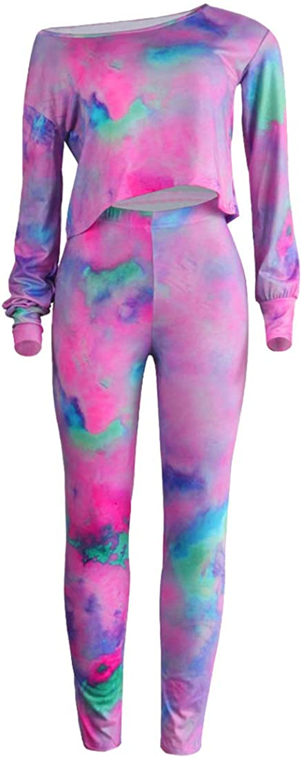Aro Lora Womens 2 Piece Jumpsuit Tie Dye Print One Shoulder Long Sleeve Crop Top Bodycon Pant Set Outfit