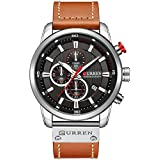 Mens Leather Strap Watches Stainless Steel Classic Casual Dress Waterproof Chronograph Date Analog Quartz Watch (Silver)