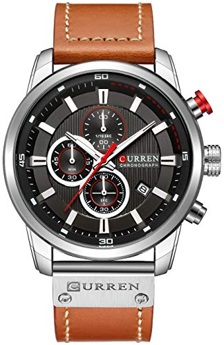 Mens Leather Strap Watches Classic Casual Dress Stainless Steel Waterproof Chronograph Date Analog Quartz Watch (Black Silver) ()