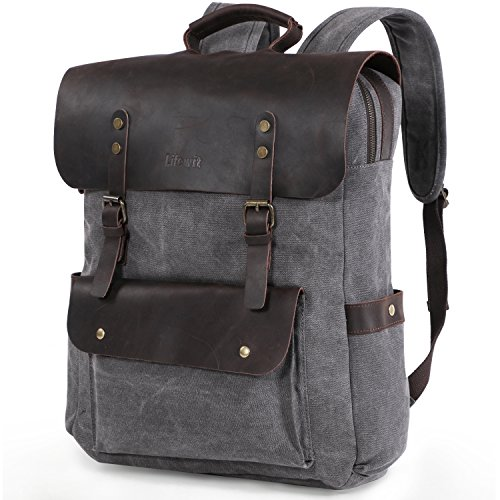 Lifewit 17.3 inch Leather Laptop Backpack Vintage Canvas Casual School Collage Bag Business Travel Rucksack
