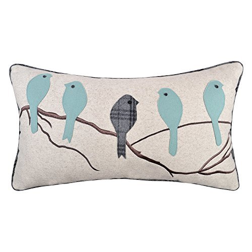 (JWH Birds Accent Pillow Case Applique Hand Emobroidery Cushion Cover Wool Decorative Pillowcase Home Sofa Car Bed Living Room Decor Sham Gift 14 x 24 Inch Light Blue)