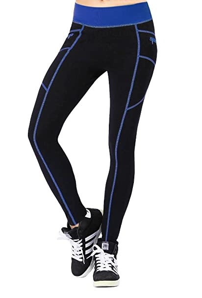 Neonysweets - Pantalones para mujer, para hacer fitness, correr, caminar o hacer yoga, Mujer, color negro/azul, tamaño L
