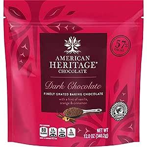 American Heritage Chocolate, 57% Cacao, Artisanal Baking Dark Chocolate with a Hint of Vanilla, Orange, and Cinnamon, 12 oz