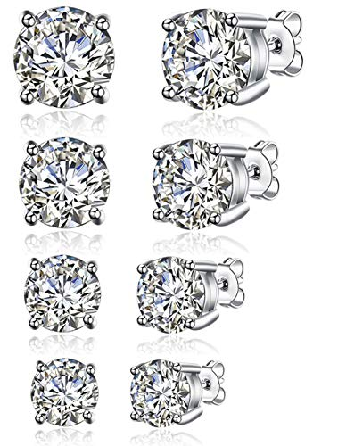 - 4 Pairs 18K Gold Plated S925 Silver Brilliant Cut Simulated Diamond CZ Stud Earrings for Back to School (4 Pairs, 4~7mm)
