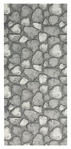 2-feet X 10-feet Foam Rubber Runner Rug | GREY 3D SHALE STONE Design Modern Floor Runner 2X10 (Design Plastic 3d)