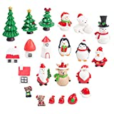 LovesTown Christmas Miniature Ornaments,22Pcs Fairy Garden Supplies Lovely Miniature Ornaments Fairy Garden Accessories Small Christmas Ornaments