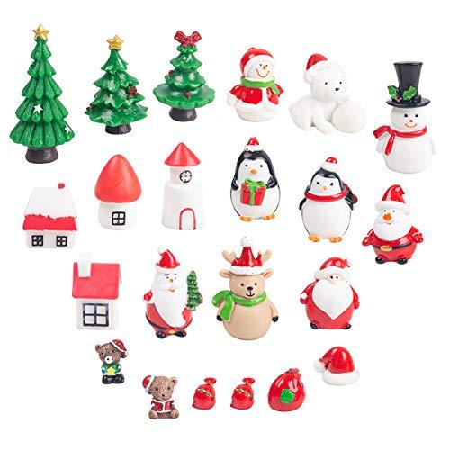 LovesTown Christmas Miniature Ornaments,22Pcs Fairy Garden Supplies Lovely Miniature Ornaments Fairy Garden Accessories Small Christmas Ornaments (Christmas Figures)