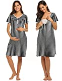 Ekouaer Women's Stripe Short Sleeve Maternity Breastfeeding and Nursing Dress