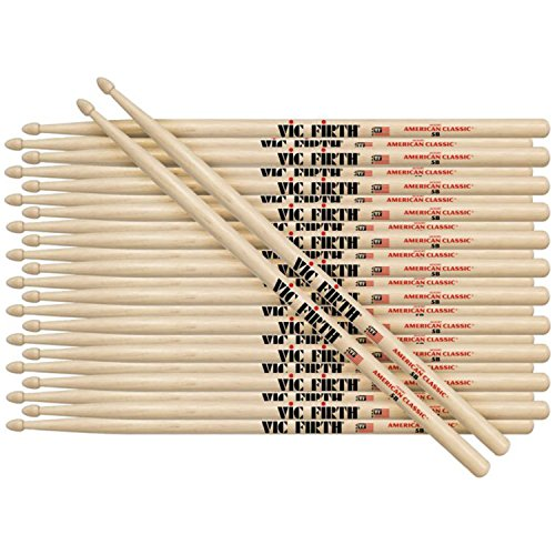 (12 Pairs of Vic Firth 5B Wood Tip American Classic Hickory Drumsticks)