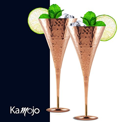 Moscow Mule Copper Flutes for Wedding Toasts, Champagne Mules, Appetizers & Anniversaries - Crafted with Hammered Copper by Kamojo - Unique Gift Set of 2 by Kamojo