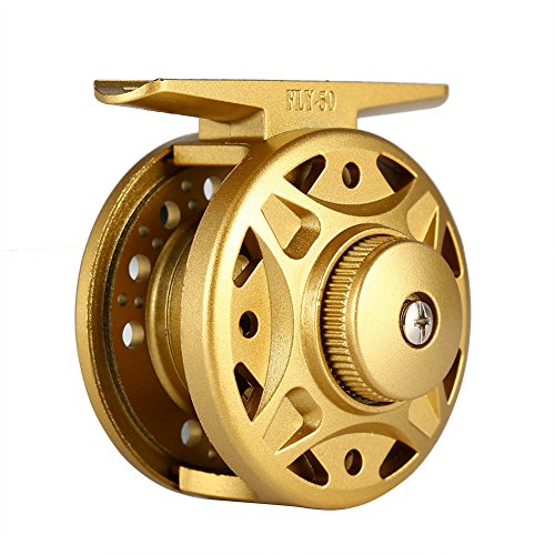 Isafish Ice Fishing Reel Straight Line Bait feeder Reels for Inshore & Saltwater Bait Fishing Yellow 60