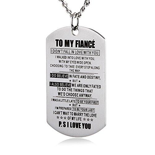 (ZJFHTD to My Fiance Fiancee Dog Tag Necklace Future Husband Wife Boyfriend Girlfriend Valentine Engagement Celebration (Silver-to My Fiance))