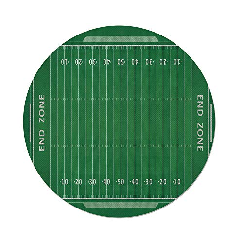 iPrint Cotton Linen Round Tablecloth,Football,Field of The G
