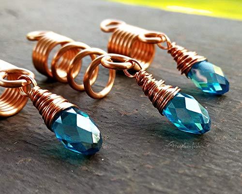 Loc Beads, Set of 3, Light Blue, Glass Prism Beads, Copper