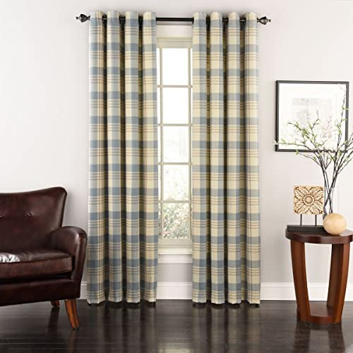 LORRAINE HOME FASHIONS Rutherford Grommet Window Curtain Panel, 52 x 72 , Silver Blue