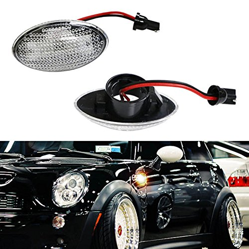 iJDMTOY (2) OEM Replace Clear Lens Side Marker Lamps w/ Amber LED Lights For MINI Cooper MKI R50 R52 R53 (Side Repeater Amber)