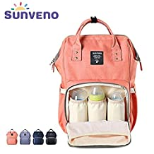 Sunveno Mummy Backpack Travel Bag Multifunction Baby Diaper Nappy Changing Handbag (Pink)