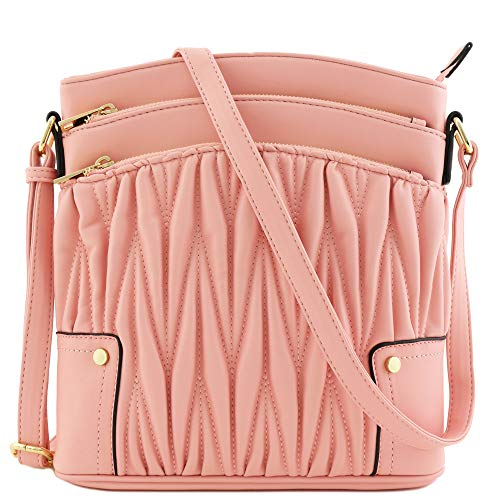 Triple Zip Pocket Large Crossbody Bag (Quilted Pink)