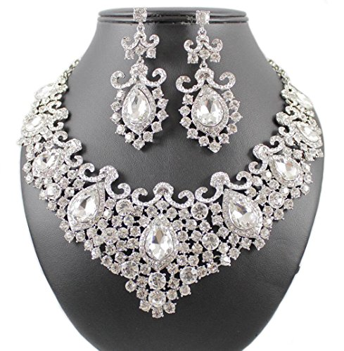 Janefashions Stunning Clear Austrian Rhinestone Crystal Necklace Earrings Set N12187 Silver