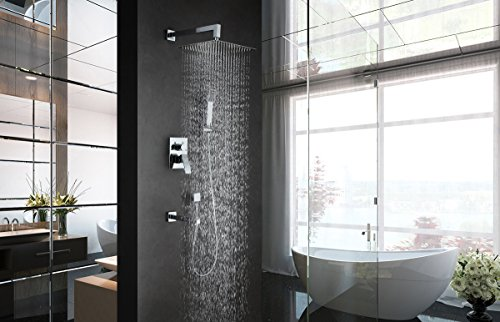 GAPPO Luxury Rain Shower System Kit with Handheld Shower and Tub Spout Tap Polished Chrome by GAPPO (Image #3)