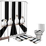 Amagical 16 Pieces Shower Curtain Set Bath Mat Set Contour Mat Toilet Cover Penguins Cute Animals Print Shower Curtain with 12 Hooks