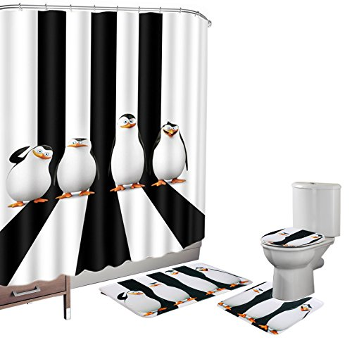 Amagical 16 Pieces Shower Curtain Set Bath Mat Set Contour Mat Toilet Cover Penguins Cute Animals Print Shower Curtain with 12 Hooks by Amagical