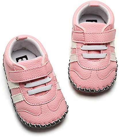 51EM8Xp vCL. AC - SOFMUO Baby Girls Boys Pu Leather Sneakers Anti-Slip Rubber Sole Cartoon Moccasins Handmade Newborn Slippers Hard Bottom Toddler First Walkers Infant Crib Shoes