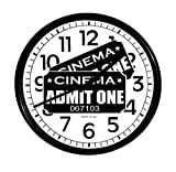 New Black Finish Round Wall Hanging Clock featuring Admit One Movie Tickets Themed Logo
