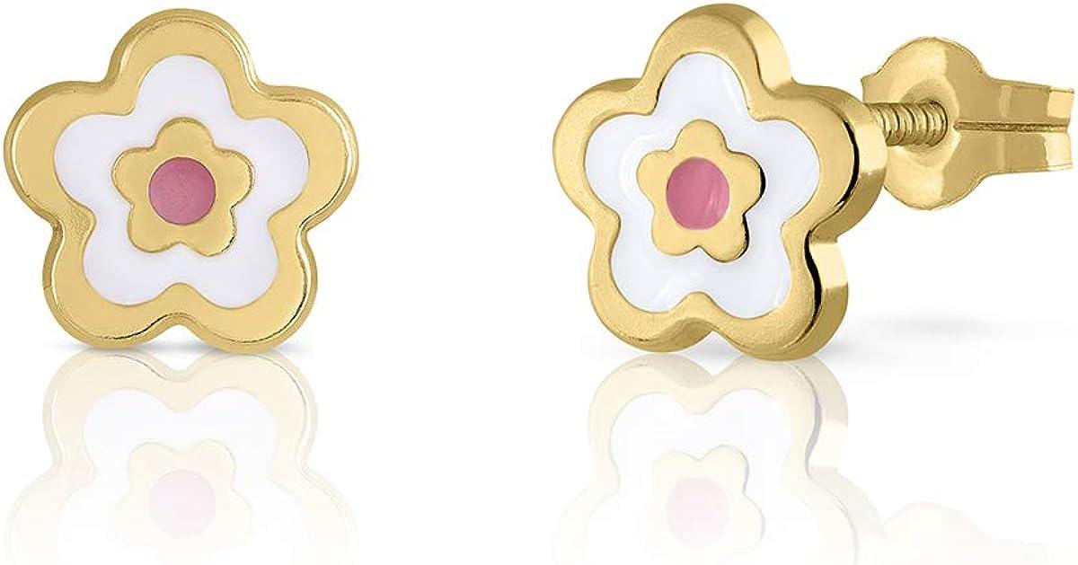 Dimensions du bijou : 7,5 mm pour b/éb/é fille ou femme motif fleur avec double /émail de haute qualit/é Avec fermeture /à pression de s/écurit/é maximale. Boucles doreilles en or