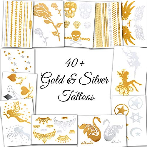 Metallic Temporary Tattoos for Women and Girls - Henna, Hamsa, Tribal, Elephants and Other Shiny Gold and Silver Tattoo Stickers for Body Art (40+ Metallic Tattoos - 12 Sheets) ()