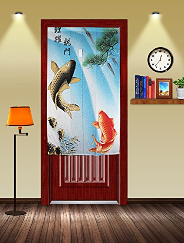 Traditional Chinese Style Double Leaping Fish Pattern Meaning of Success and Progress Door Curtain Japanese Noren Curtain Bedroom (Leaping Fish)