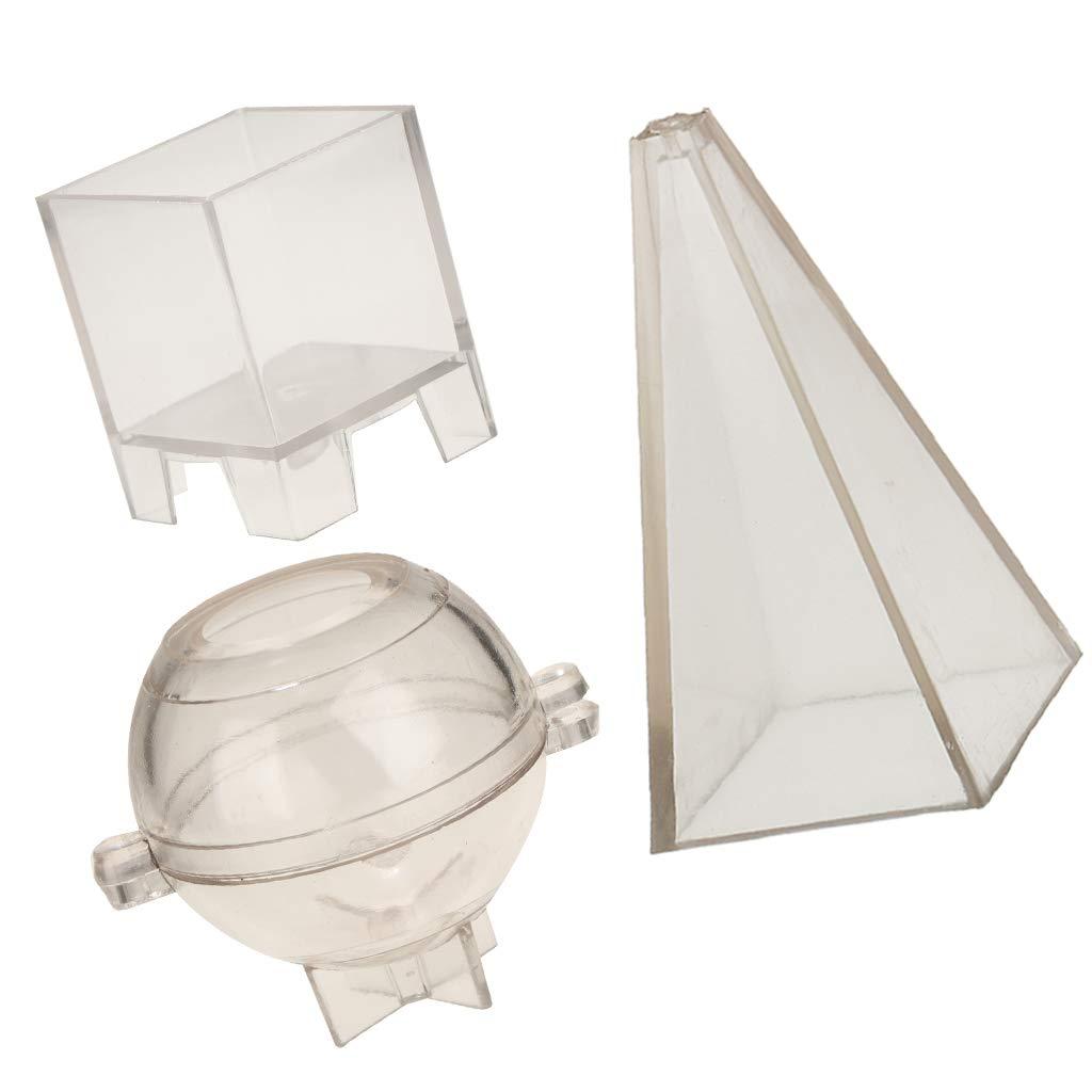perfeclan 3pcs Moule /à Bougies en Sph/ère de Pyramide Candle Mould Plastic Candle Moldel DIY Molds