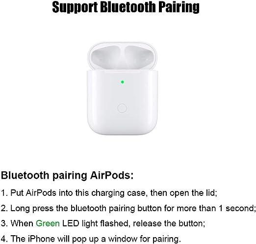 NeotrixQI Qi Reemplazo de la caja de carga inalámbrica Compatible con AirPod (sin función de par) Tapa protectora Batería incorporada 5 veces carga completa (blanco): Amazon.es: Electrónica