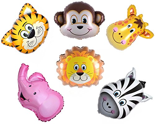 Newborn Boy Balloons Bouquet (Ximkee Mini Jungle Elephant Giraffe Tiger Lion Monkey Zebra Foil Balloons Kit Zoo Festival Party Supplies Kid's Toy Gift Pack of)