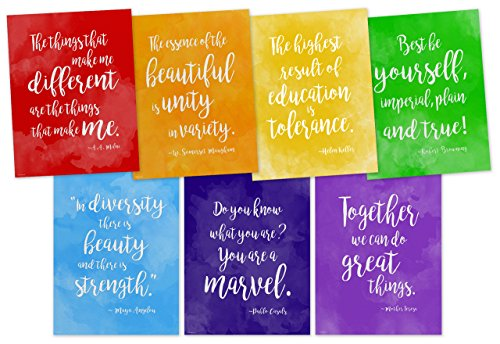 ECHO-LIT Rainbow of Diversity Motivational Posters Set of Seven Inspirational Art Prints Featuring Quotes from Maya Angelou, A.A. Milne, Mother Teresa, Helen Keller and More