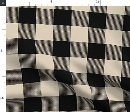 (Spoonflower Plaid Fabric - Buffalo Plaid Check Black Tan Beige Cream by Sugarpinedesign Printed on Petal Signature Cotton Fabric by The Yard)