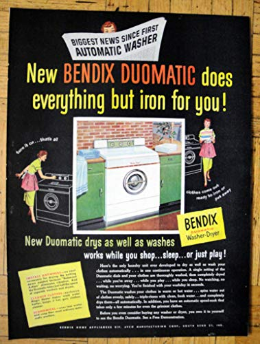 Appliance Vintage Ads (1953 Bendix Duomatic Washer-Dryer-Does Everything-Original 13.5 * 10.5 Magazine Ad)