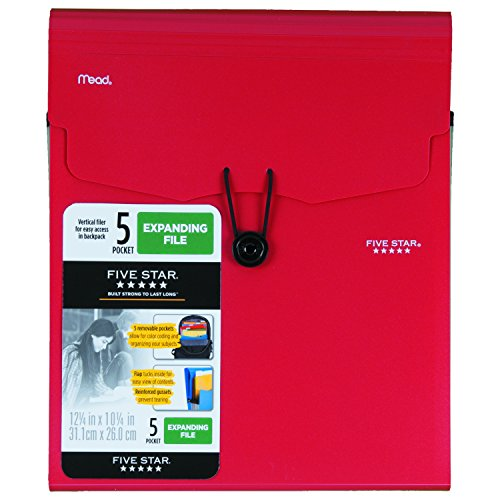 Five Star 5-Pocket Expanding Vertical File, 12.25 x 10.25 Inches, Red (72693)