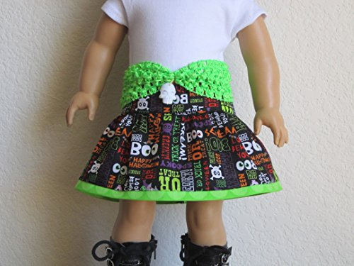 Halloween Skirt with Stretch Belt fits American Girl - Boo! Freaky! Scream! RIP