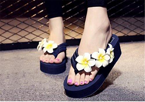 Pantoufles Femme Bleu Wedge Flip Summens Plate de Sandales Flops Talon Forme Tongs q514E