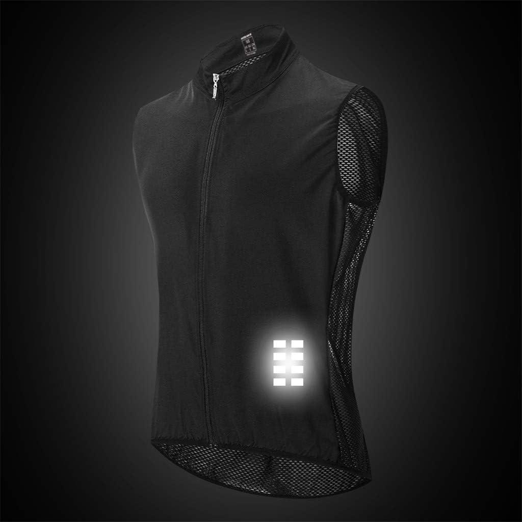 Toygogo Men Cycling Wind Vest Sleeveless Reflective Gilet Jersey Sportswear