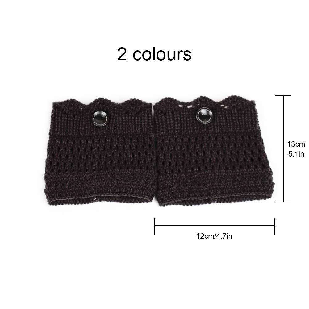 c/álidos de ganchillo Calentadores de punto para botas de invierno para mujer 2 pares para mujer