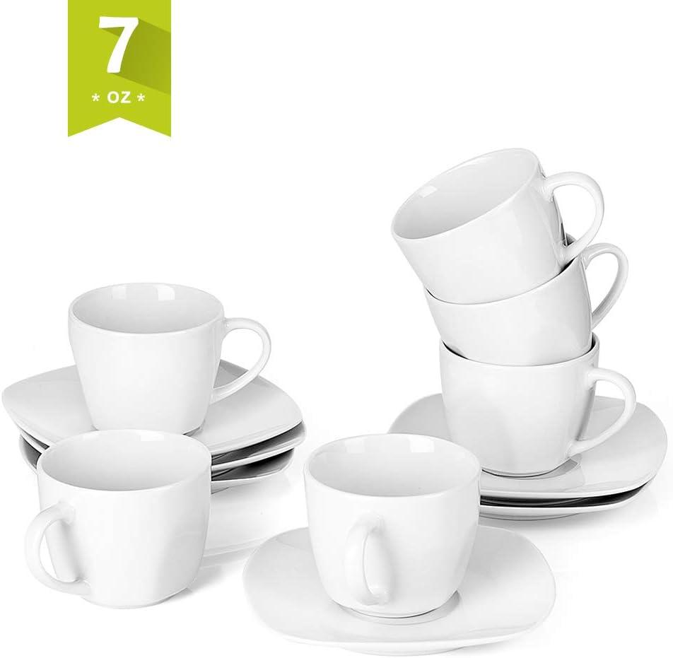 Malacasa 12-Piece Tea Cups and Saucers Sets 6.7 oz White Coffee Cups Ceramic Drinkware Set Service for 6, Series Elisa