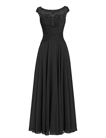 4fc819d595 Mother of The Bride Dress Beaded Chiffon Formal Wedding Party Gown Prom  Dresses Black US 2