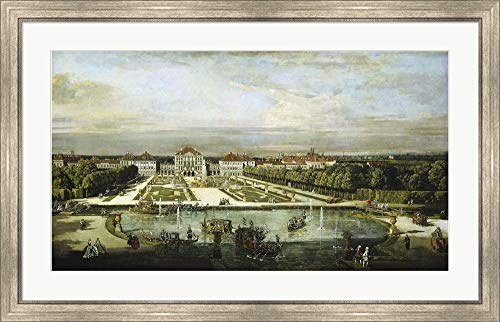 - Baroque Nymphenburg Palace by Bernardo Bellotto 1760 by Vintage Lavoie Framed Art Print Wall Picture, Silver Scoop Frame, 40 x 26 inches