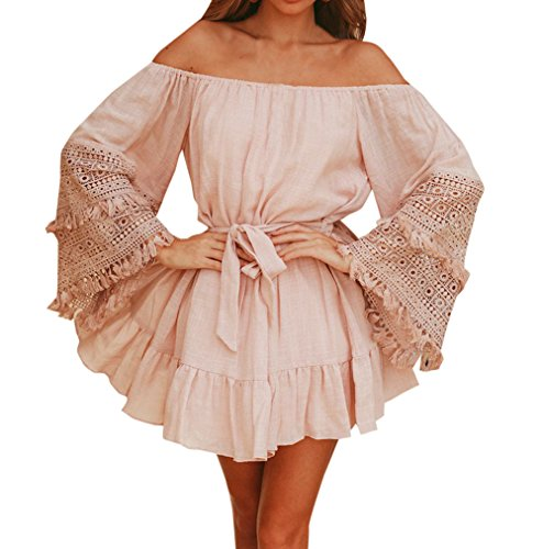 de New Flare avec de Plage Femmes Bandage Soire Plisse Sleeve Cocktail Col Robe pissure Robe Robes t Mode Dentelle Mini Elegante Fte Bateau Rose SwqCHdC