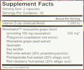 Resvinatrol Complete Resveratrol Dietary Supplement Vegetarian Capsules, 60 Count