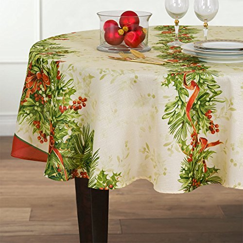 Holly Ribbon Traditions Fabric Christmas Holiday Tablecloth, 70 Inch Round -